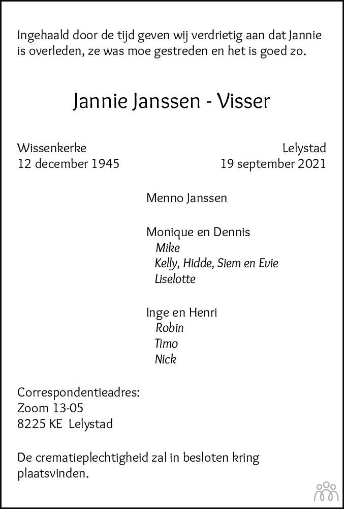 Overlijdensbericht van Jannie Janssen-Visser in Flevopost Dronten