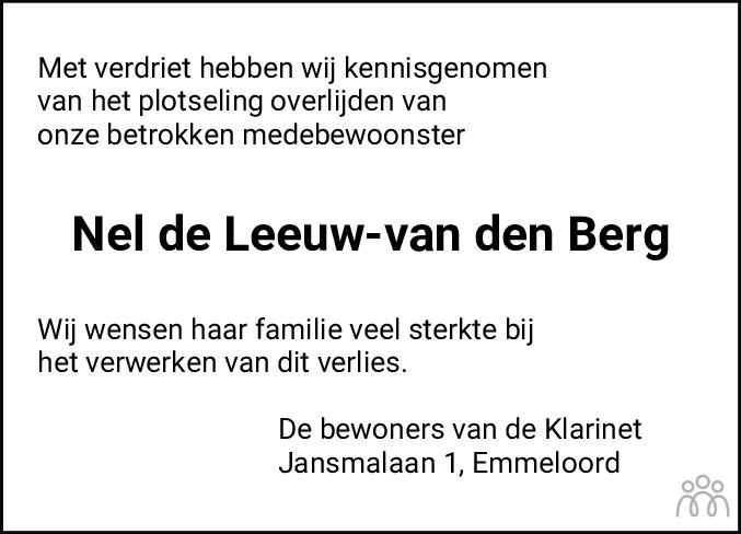 Overlijdensbericht van Pieternella Cornelia Johanna (Nel) de Leeuw-van den Berg in Noordoostpolder