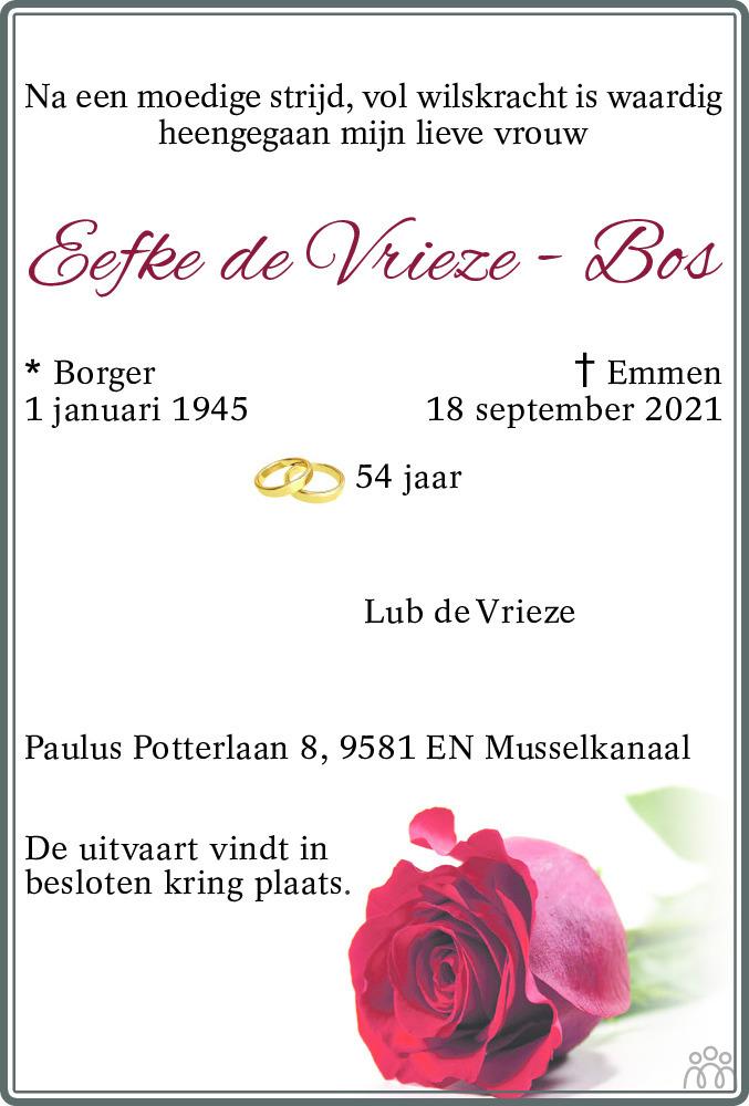 Overlijdensbericht van Eefke de Vries-Bos in Dagblad van het Noorden