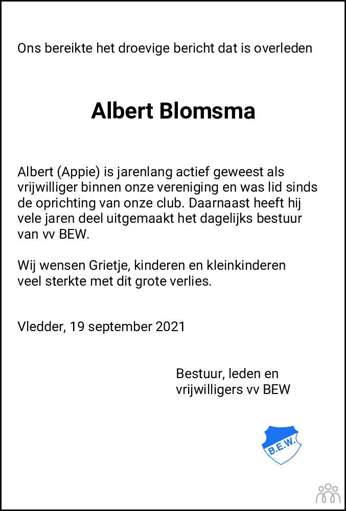 Overlijdensbericht van Albert Blomsma in Meppeler Courant