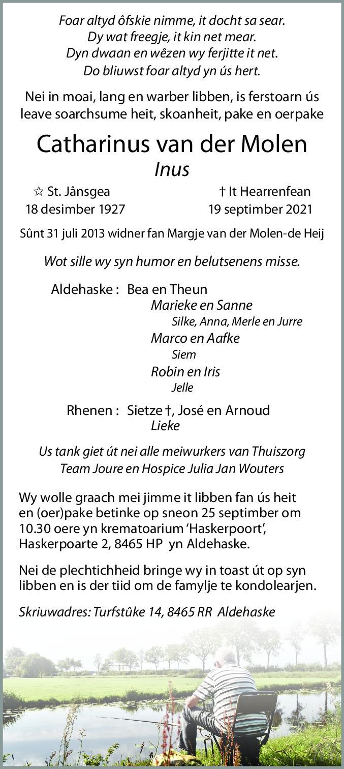 Overlijdensbericht van Catharinus (Inus) van der Molen in Leeuwarder Courant