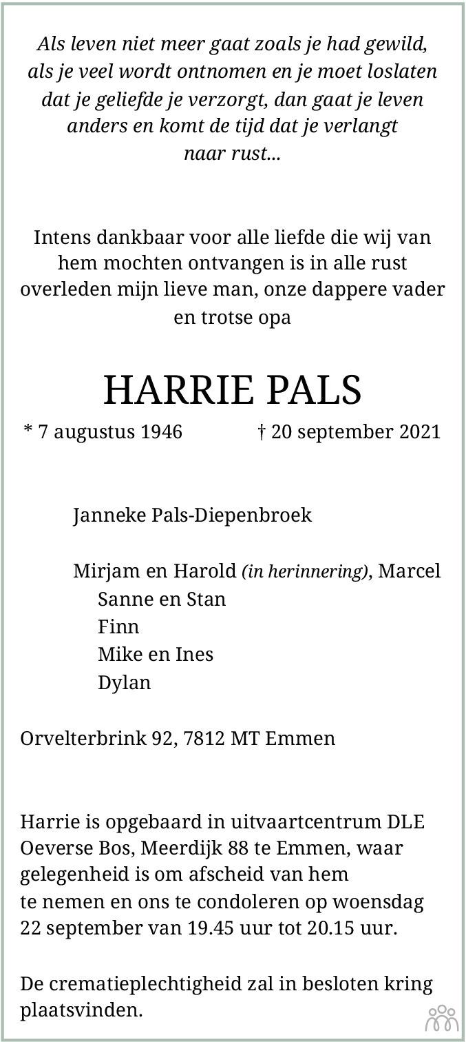 Overlijdensbericht van Harrie Pals in Dagblad van het Noorden