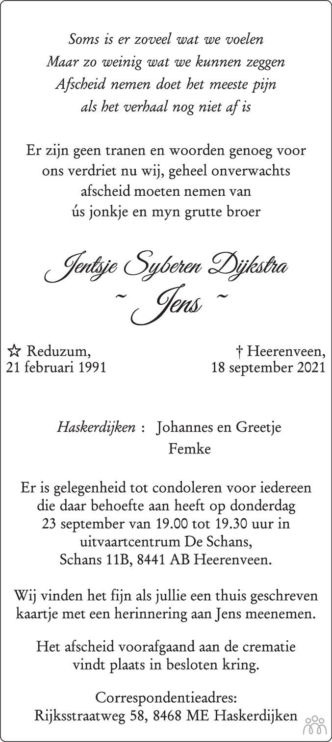Overlijdensbericht van Jentsje Syberen (Jens) Dijkstra in Leeuwarder Courant