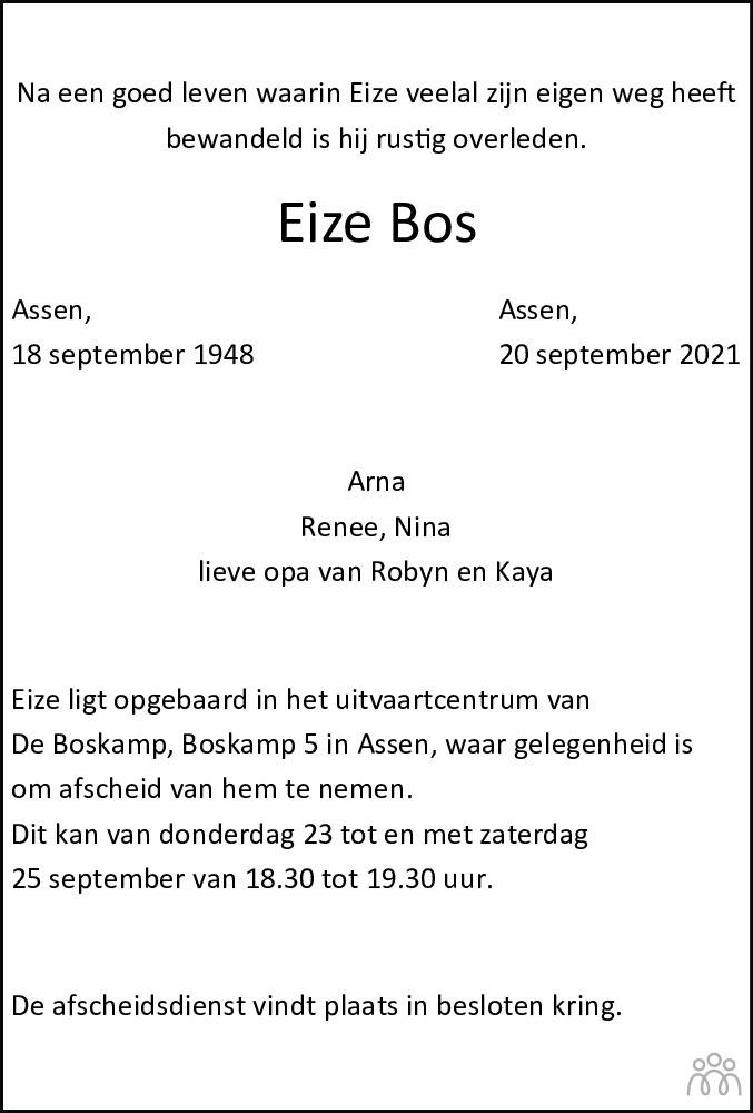 Overlijdensbericht van Eize Bos in Dagblad van het Noorden