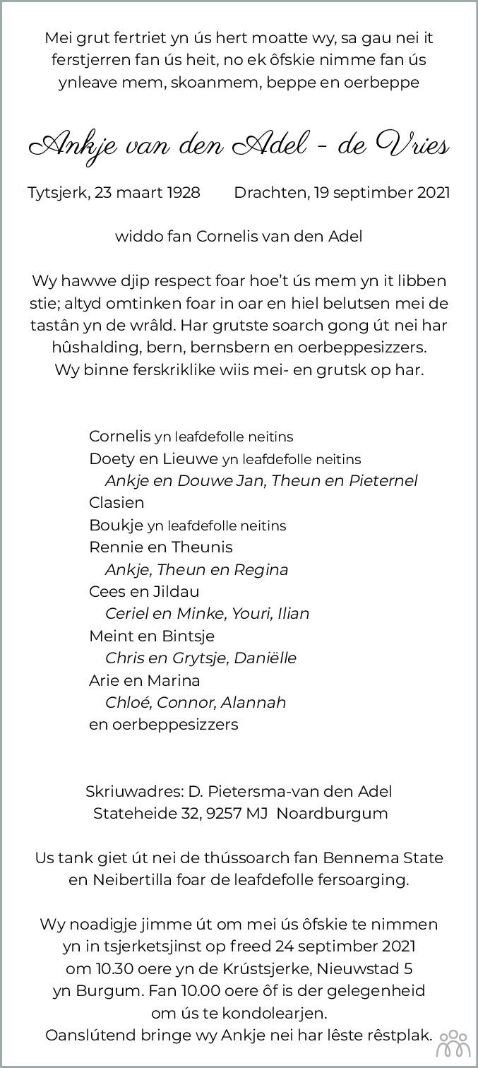 Overlijdensbericht van Ankje van den Adel-de Vries in Leeuwarder Courant