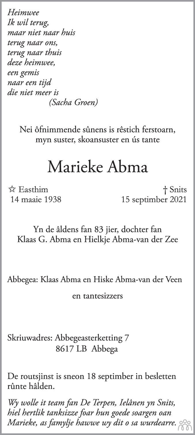 Overlijdensbericht van Marieke Abma in Sneeker Nieuwsblad