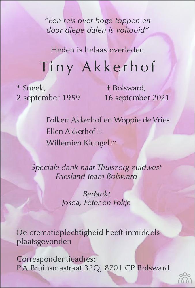 Overlijdensbericht van Tiny Akkerhof in Bolswards Nieuwsblad