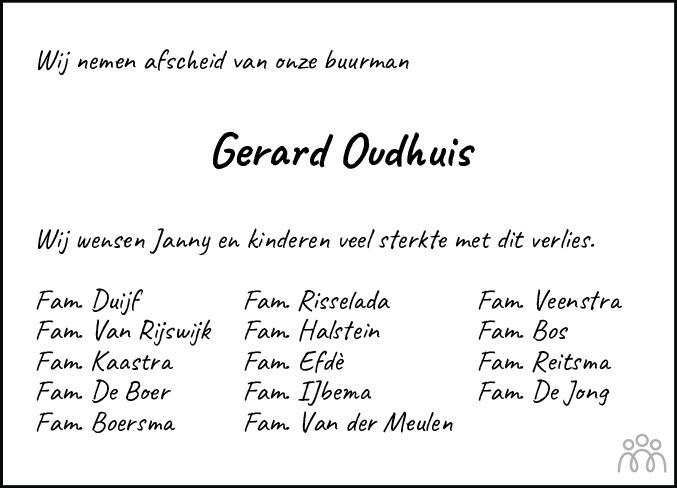 Overlijdensbericht van Gerardus Theodorus (Gerard) Oudhuis in Jouster Courant Zuid Friesland