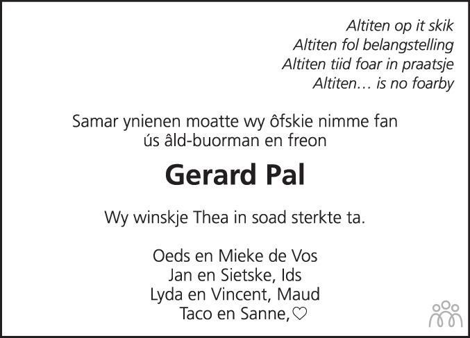 Overlijdensbericht van Gerard Pal in Leeuwarder Courant