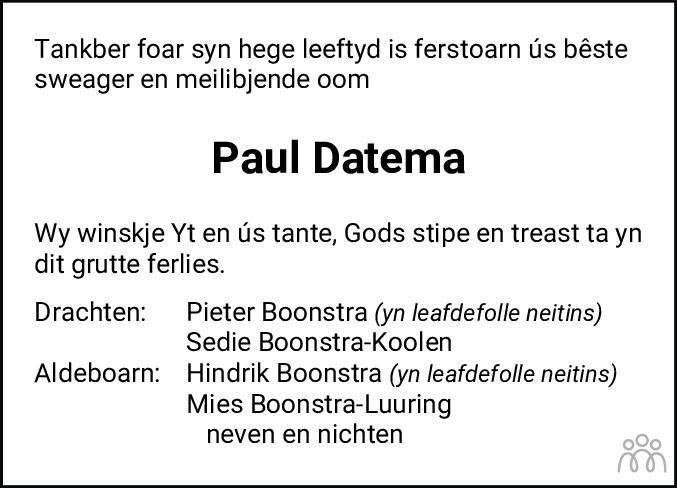 Overlijdensbericht van Pauwel (Paul) Datema in Leeuwarder Courant