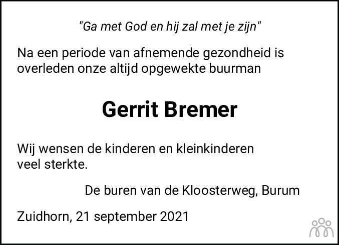 Overlijdensbericht van Gerrit Bremer in Nieuwsblad Noordoost-Friesland