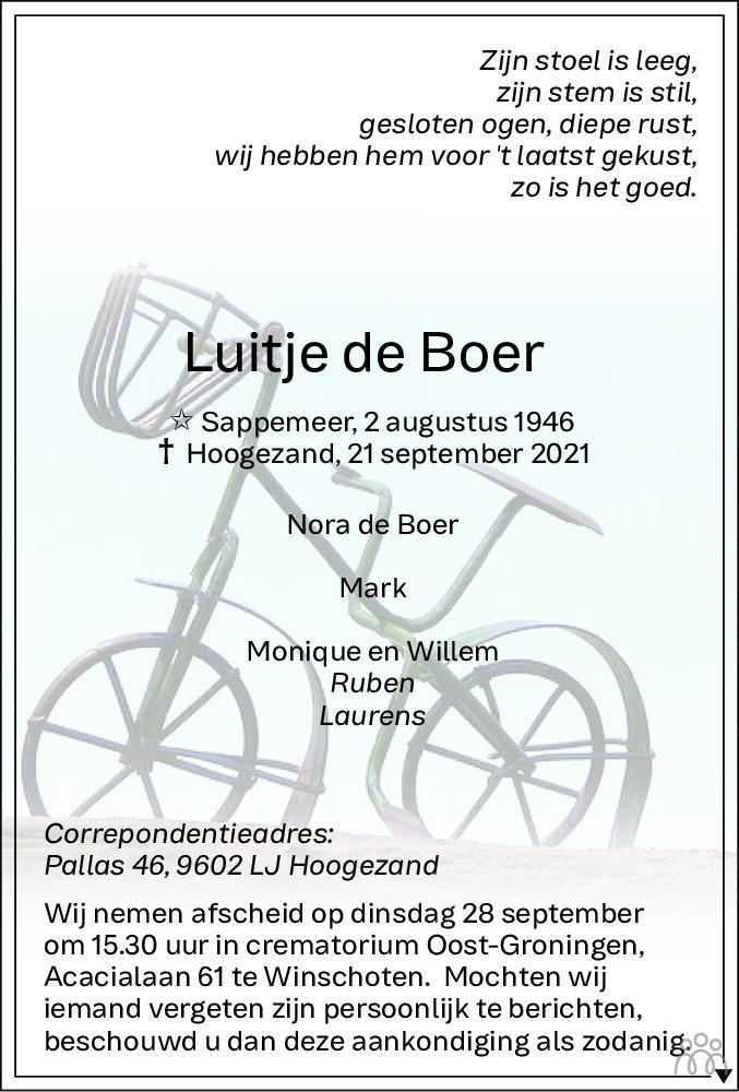 Overlijdensbericht van Luitje de Boer in Dagblad van het Noorden