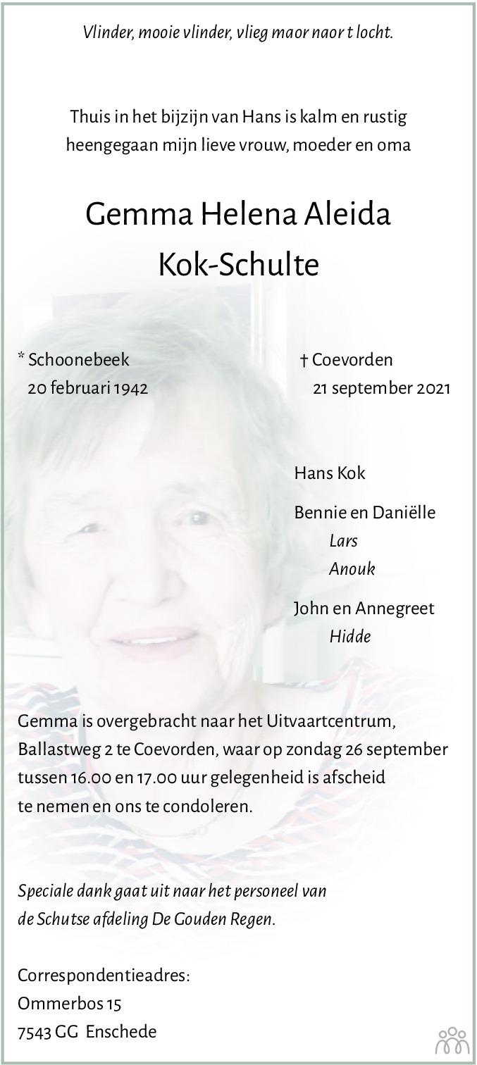 Overlijdensbericht van Gemma Helena Aleida Kok-Schulte in Dagblad van het Noorden