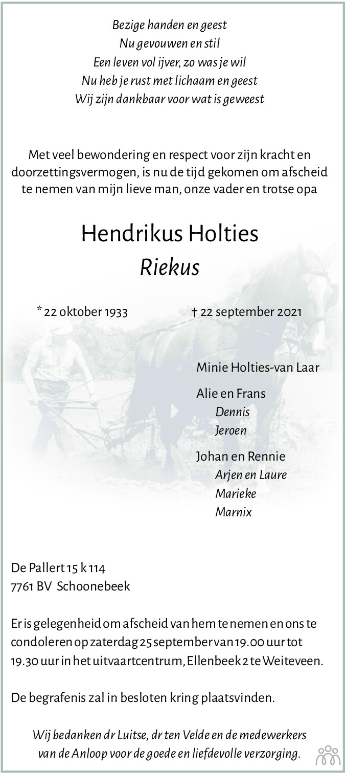 Overlijdensbericht van Hendrikus (Riekus) Holties in Dagblad van het Noorden