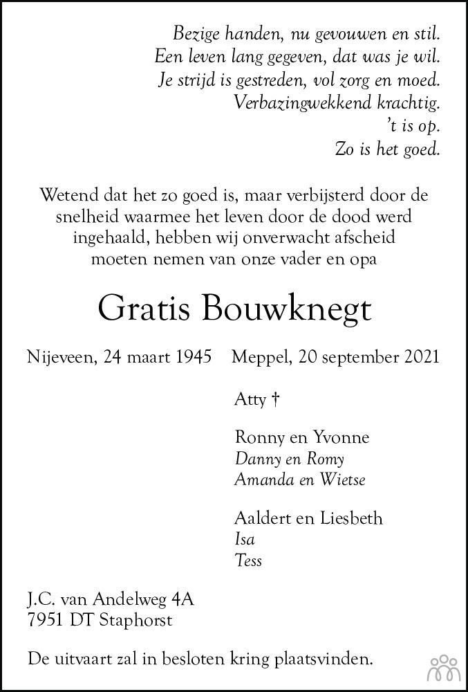 Overlijdensbericht van Gratis Bouwknegt in Meppeler Courant