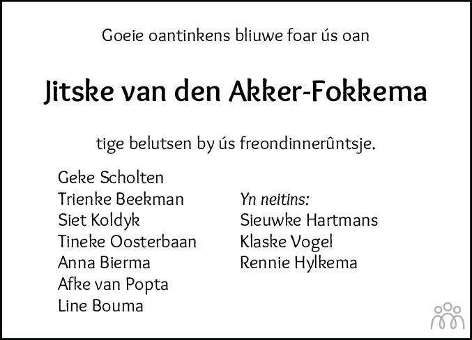 Overlijdensbericht van Jitske van den Akker-Fokkema in Leeuwarder Courant