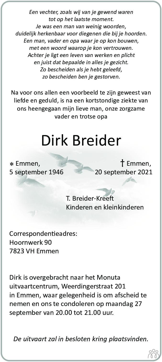 Overlijdensbericht van Dirk Breider in Dagblad van het Noorden