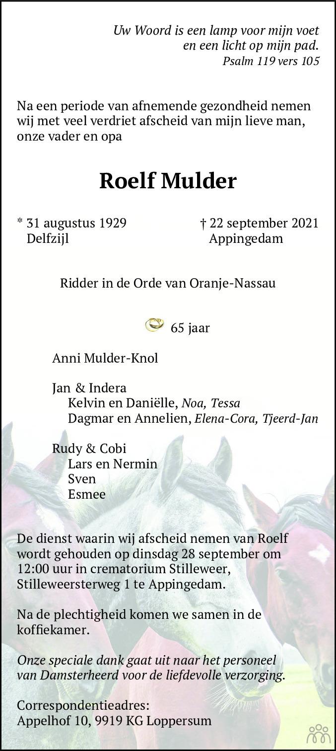 Overlijdensbericht van Roelf Mulder in Dagblad van het Noorden