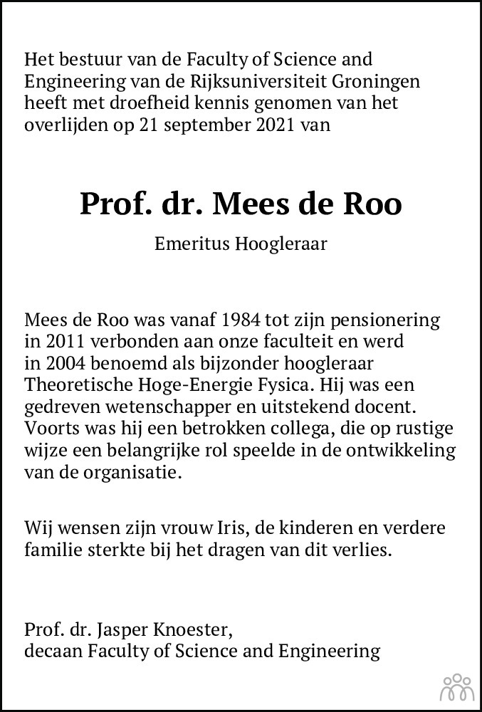 Overlijdensbericht van Mees de Roo in Dagblad van het Noorden