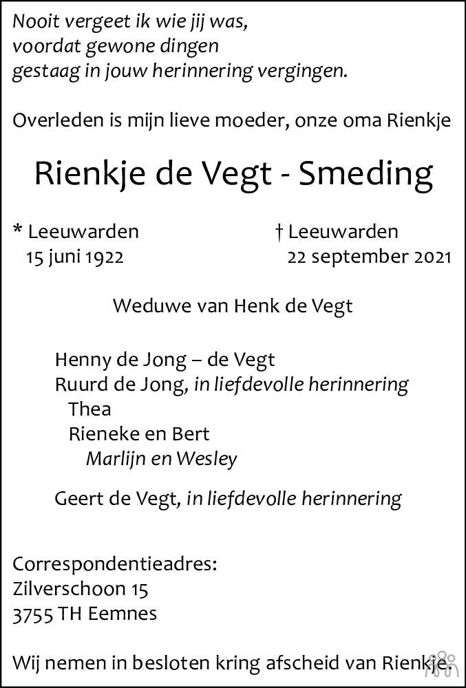 Overlijdensbericht van Rienkje de Vegt-Smeding in Leeuwarder Courant