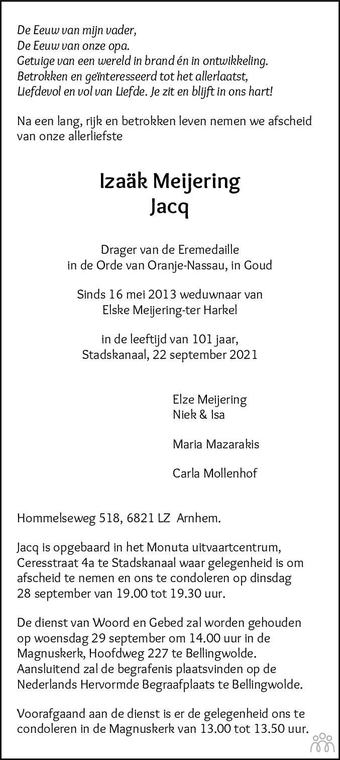 Overlijdensbericht van Izaäk (Jacq) Meijering in Dagblad van het Noorden