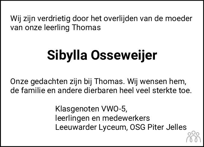 Overlijdensbericht van Sibylla Boeschoten-Osseweijer in Leeuwarder Courant