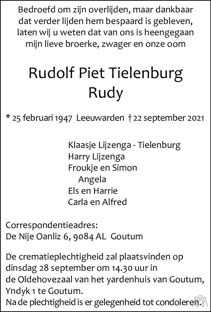 Overlijdensbericht van Rudolf Piet (Rudy) Tielenburg in Leeuwarder Courant