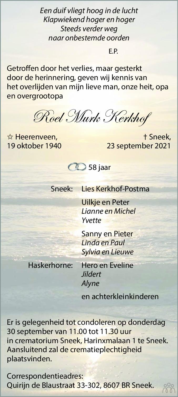 Overlijdensbericht van Roel Murk Kerkhof in Leeuwarder Courant