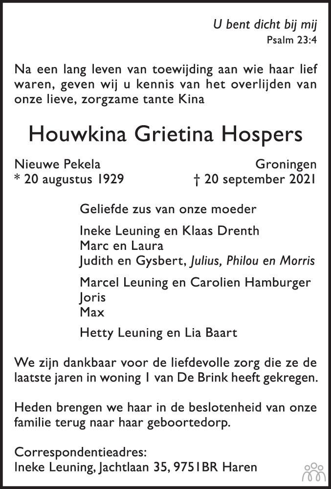 Overlijdensbericht van Houwkina Grietina Hospers in Dagblad van het Noorden