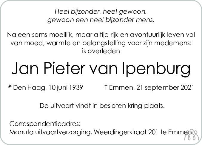 Overlijdensbericht van Jan Pieter van Ipenburg in Dagblad van het Noorden