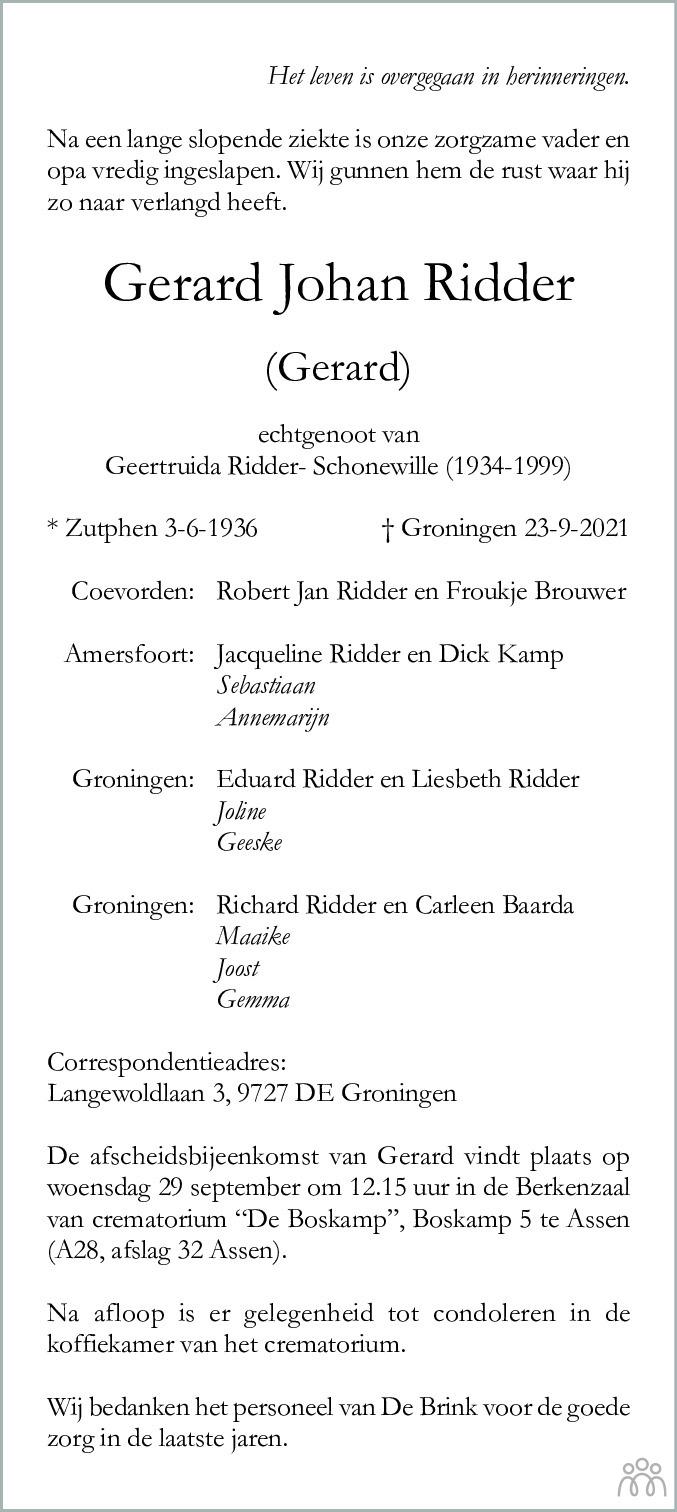 Overlijdensbericht van Gerard Johan (Gerard) Ridder in Dagblad van het Noorden