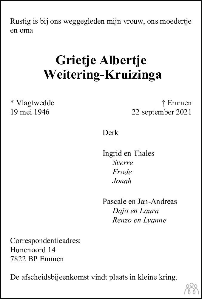 Overlijdensbericht van Grietje Albertje Weitering-Kruizinga in Dagblad van het Noorden