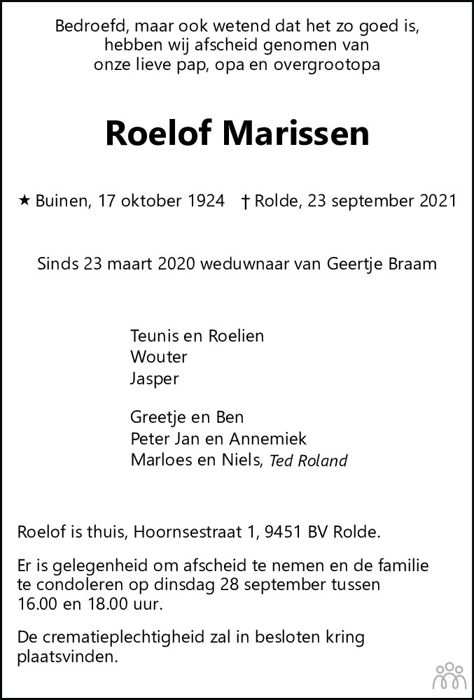 Overlijdensbericht van Roelof Marissen in Dagblad van het Noorden