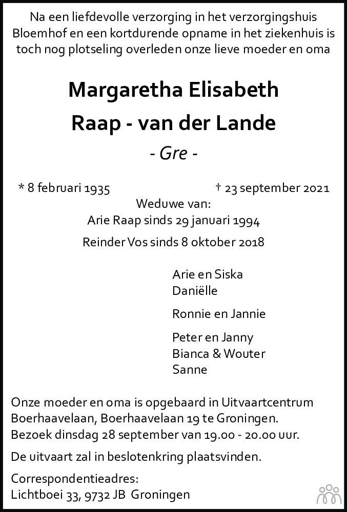 Overlijdensbericht van Margaretha Elisabeth (Gré) Raap-van der Lande in Dagblad van het Noorden