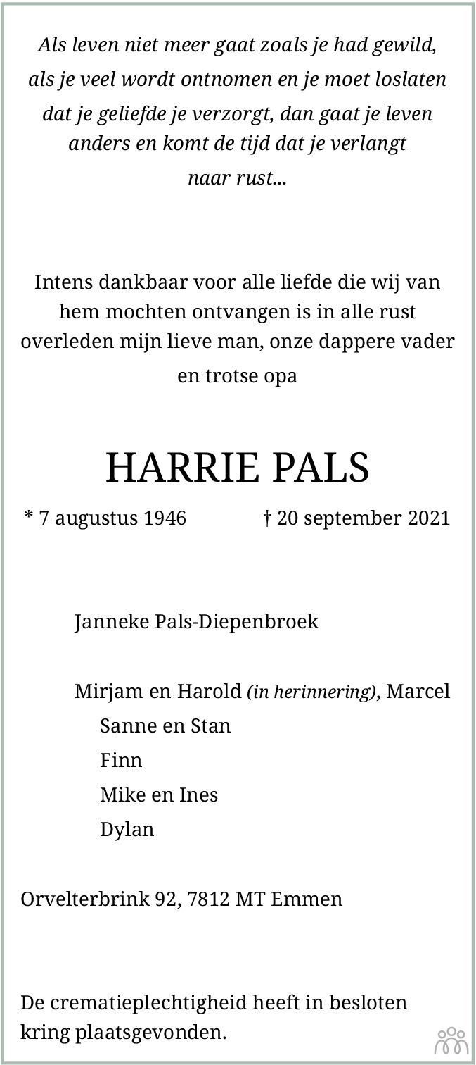 Overlijdensbericht van Harrie Pals in Emmen Nu