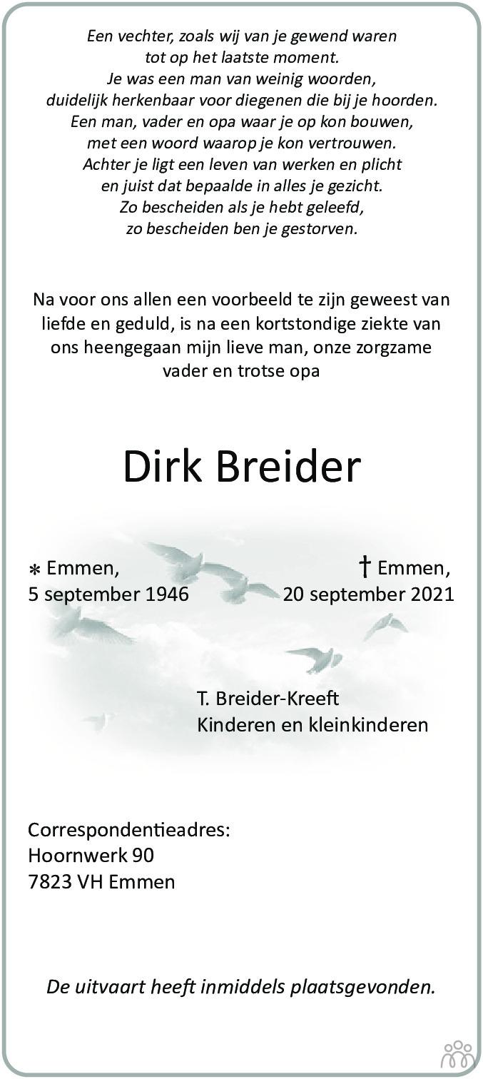 Overlijdensbericht van Dirk Breider in Emmen Nu