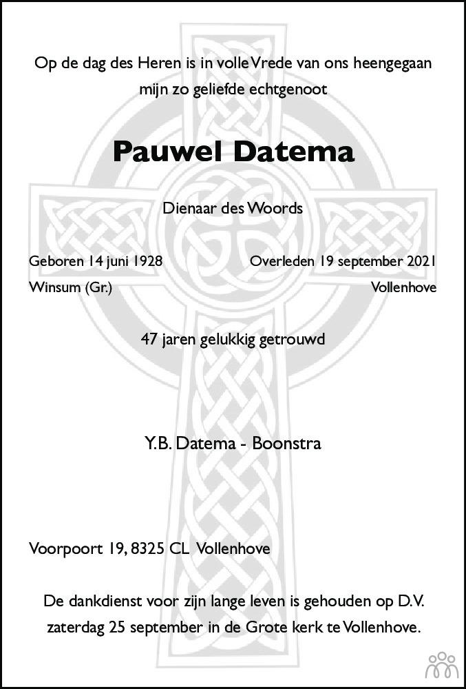 Overlijdensbericht van Pauwel (Paul) Datema in Meppeler Courant