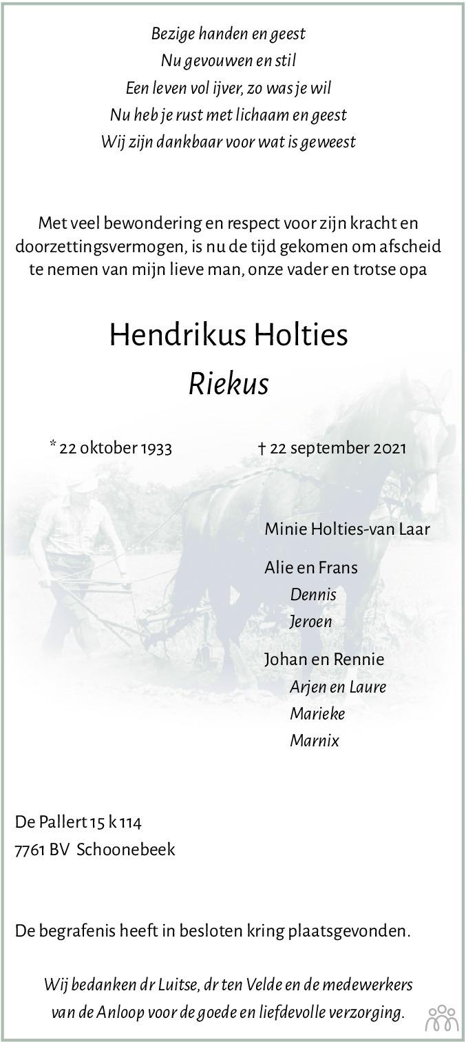 Overlijdensbericht van Hendrikus (Riekus) Holties in Emmen Nu