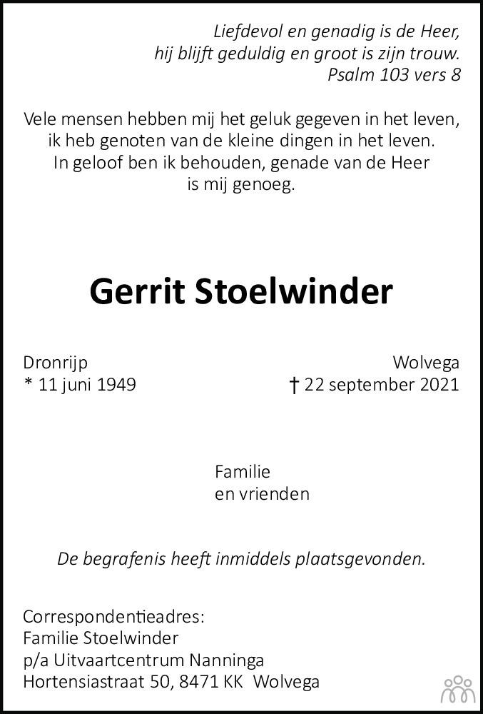 Overlijdensbericht van Gerrit Stoelwinder in De Stellingwerf