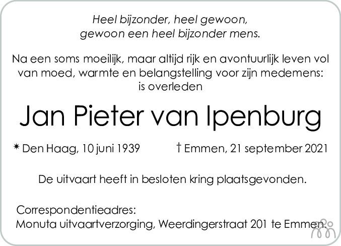 Overlijdensbericht van Jan Pieter van Ipenburg in Emmen Nu