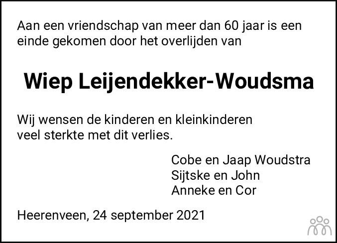 Overlijdensbericht van Wijpkje (Wiep) Leijendekker-Woudsma in Leeuwarder Courant