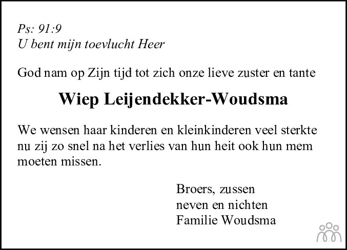 Overlijdensbericht van Wijpkje (Wiep) Leijendekker-Woudsma in Friesch Dagblad
