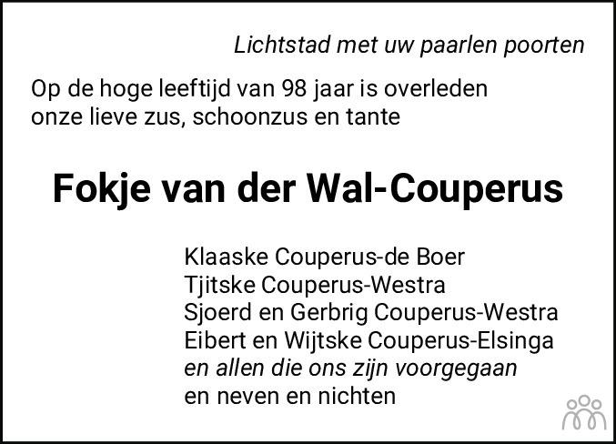 Overlijdensbericht van Fokje van der Wal-Couperus in Leeuwarder Courant
