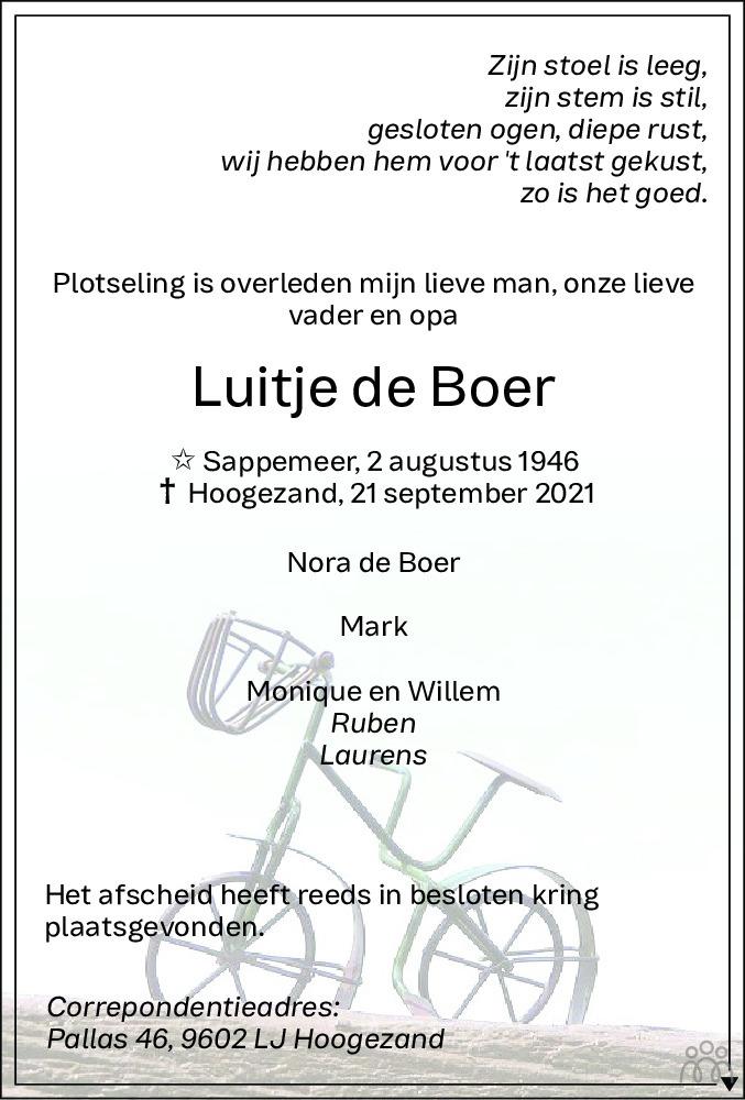 Overlijdensbericht van Luitje de Boer in HS-krant