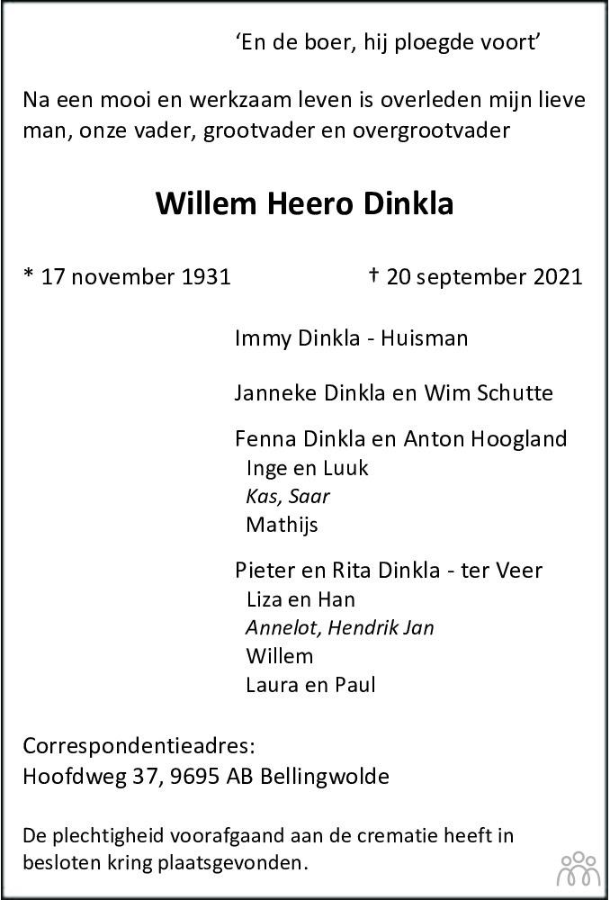 Overlijdensbericht van Willem Heero Dinkla in Streekblad/Pekelder Streekblad