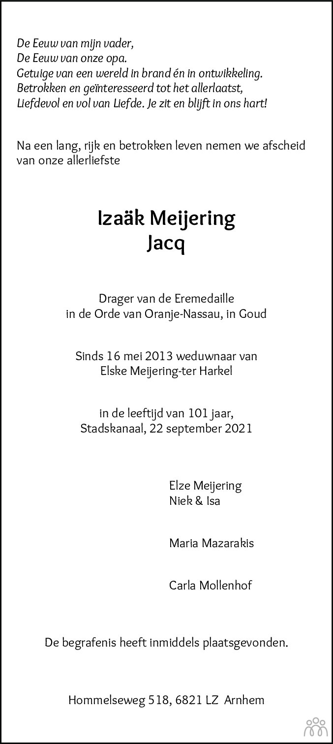 Overlijdensbericht van Izaäk (Jacq) Meijering in Kanaalstreek Ter Apeler Courant