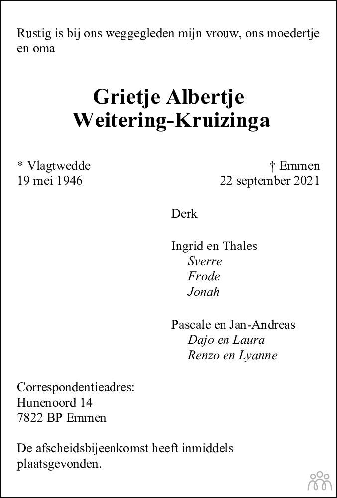 Overlijdensbericht van Grietje Albertje Weitering-Kruizinga in Kanaalstreek Ter Apeler Courant