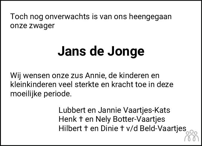 Overlijdensbericht van Jans de Jonge in Hoogeveensche Courant