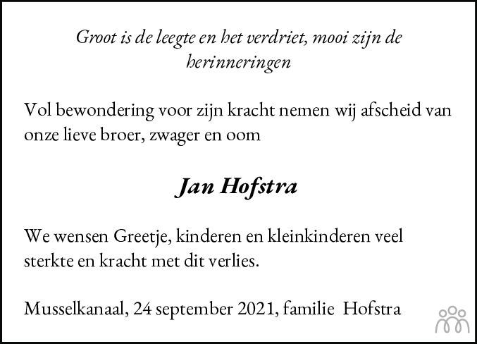 Overlijdensbericht van Jan Hofstra in Kanaalstreek Ter Apeler Courant