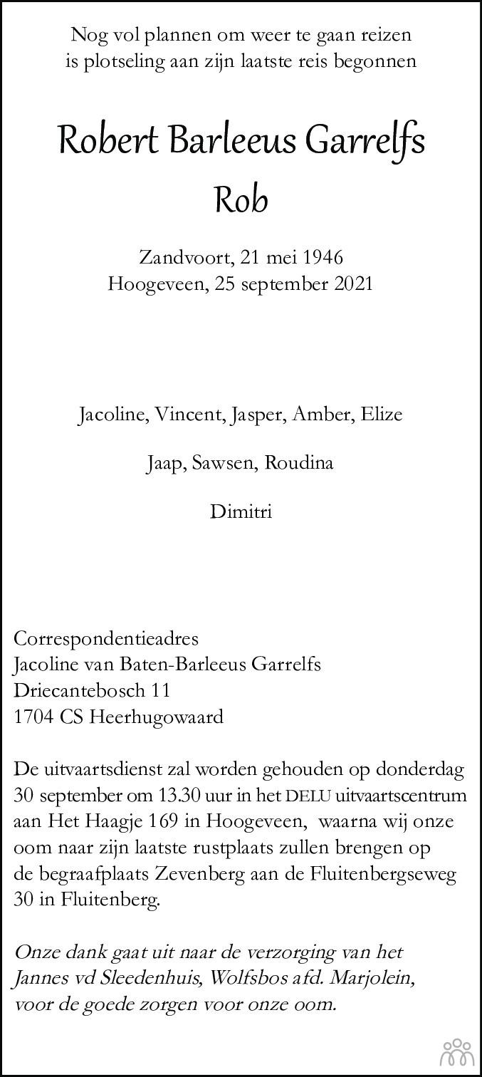 Overlijdensbericht van Robert Barleeus (Rob) Garrelfs in Hoogeveensche Courant